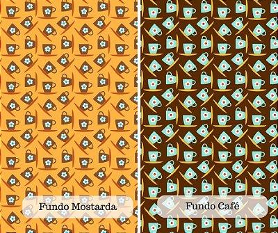 Tecido Tricoline Estampado Xícara de Café ou Chá- Fundo Café e Mostarda - 50cm x 150cm