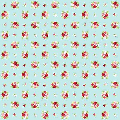 Tecido Tricoline Estampado Mini Bouquets de Rosas com Fundo Azul - 50cm x 150cm