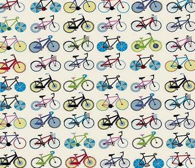 Tecido Tricoline  Estampa de Bicicleta (Fundo Branco) - 47 cm X 150 cm