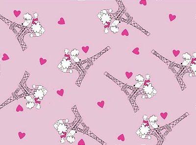 Tecido Tricoline Estampado Torre Eiffel Fundo Rosa - Preço de 50cm x 150cm