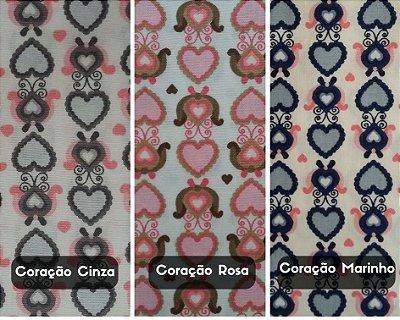 Tecido Tricoline Estampado Coração Marinho, Rosa e Cinza - 50cm x 150cm