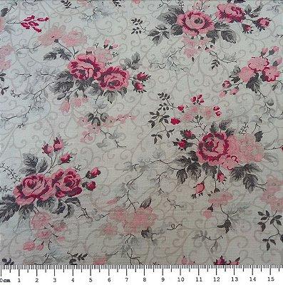 Tecido Tricoline Estampado Floral Cinza Fernanda (Fundo Gelo) - (50 cm x 1,50 m)