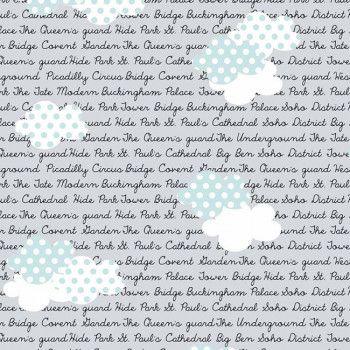 Tecido Tricoline Estampado Londres e Londres Nuvem - Coleção Vanessa Guimarães - 50cm x 150cm