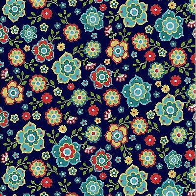 Tecido Tricoline Floral Mandala (Fundo Marinho) - Coleção Mandala - 50cm x 150cm