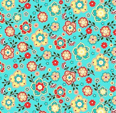 Tecido Tricoline Floral Mandala (Fundo Tiffany) - Coleção Mandala - 50cm x 150cm