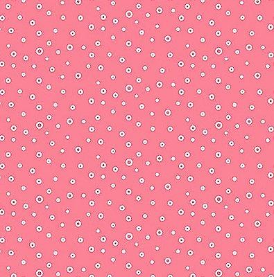 Tecido Tricoline  Estampa de Bolhinhas (Fundo Rosa) - Coleção Jardim Secreto - 50 cm X 150 cm