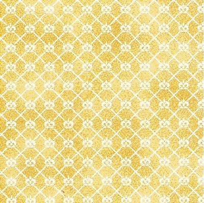 Tecido Tricoline Mini Coroa Doce de Leite - Coleção Mini Elementos - (50 cm x 150 cm)