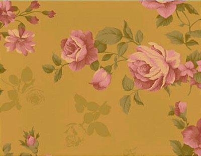 Tecido Tricoline Estampado Floral Rosas Vermelhas (Fundo Cappuccino) - 50 cm x 150 cm