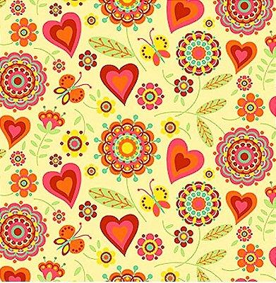 Tecido Tricoline  Estampa Floral e Corações (Fundo Creme) - Coleção Dias Felizes - 50 cm X 150 cm