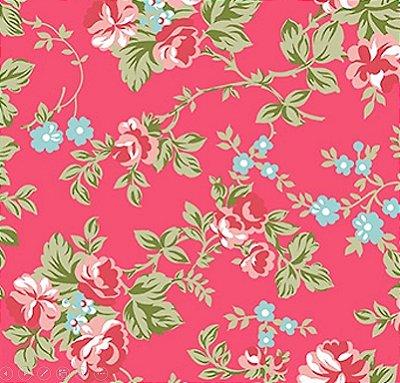 Tecido Tricoline Estampado Floral Fundo Goiaba - Coleção C'est la Vie - 50cm x 150cm