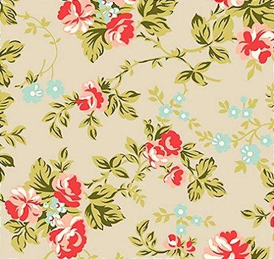 Tecido Tricoline Estampado Floral Fundo Cinza - Coleção C'est la Vie - 50cm x 150cm