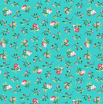 Tecido Tricoline Estampado Mini Floral Fundo Tiffany - Coleção C'est la Vie - Preço de 50cm x 150cm