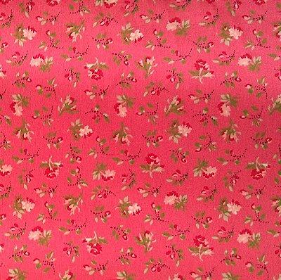 Tecido Tricoline Estampado Mini Floral Fundo Goiaba - Coleção C'est la Vie - 50cm x 150cm