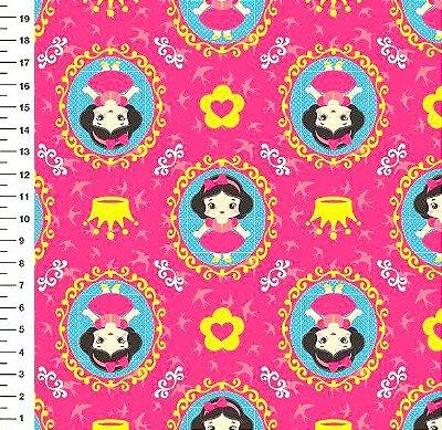 Tecido Digital - Estampa Branca de Neve Pink com Fundo Liso - Preço de 50cm x 150cm
