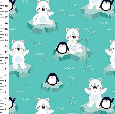Tecido Digital - Estampa de Urso Polar e Pinguim Fundo Verde - 50cm x 150cm