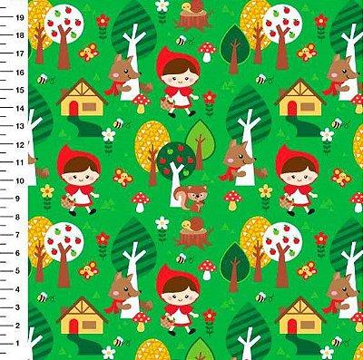 Tecido Digital - Chapeuzinho Vermelho Fundo Verde - 45cm x 150cm