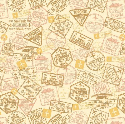 Tecido Tricoline Carimbos Castanho (Fundo Cru) - Coleção Viagem - 50cm x 150cm