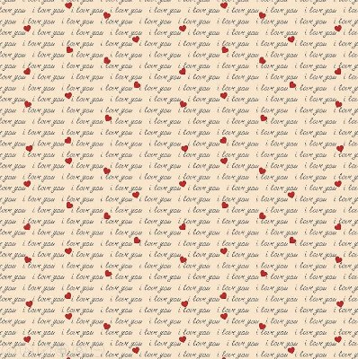 Tecido Tricoline I Love You (Fundo Rose) - Coleção I Love You - 50cm x 150cm