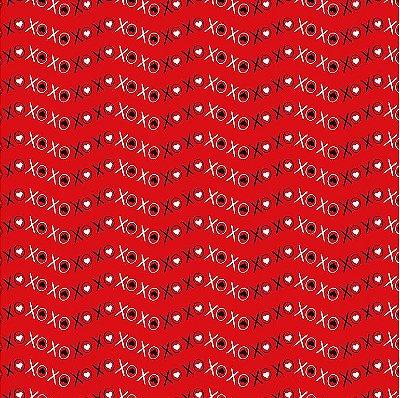 Tecido Tricoline Xoxo Vermelho - Coleção I Love You - 50cm x 150cm
