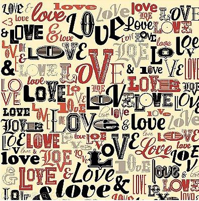 Tecido Tricoline Love Love Love (Fundo Creme) - Coleção I Love You - 50cm x 150cm