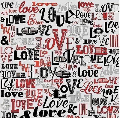 Tecido Tricoline Love Love Love (Fundo Cinza) - Coleção I Love You - 50cm x 150cm