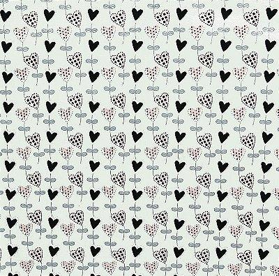 Tecido Tricoline Balõezinhos de Coração Preto (Fundo Cinza Claro) - Coleção I Love You - 50cm x 150cm
