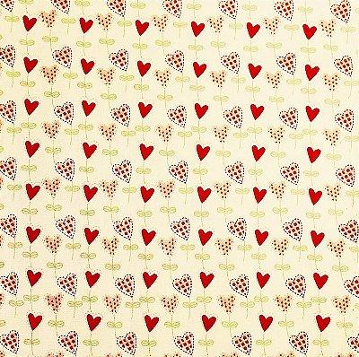 Tecido Tricoline Balõezinhos de Coração Vermelho (Fundo Creme) - Coleção I Love You - Preço de 50cm x 150cm