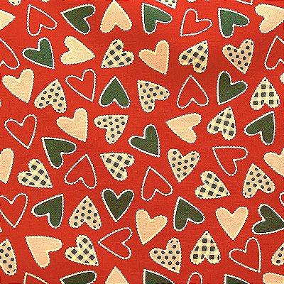 Tecido Tricoline Patch Coração (Fundo Vermelho) - Coleção I Love You - 50cm x 150cm