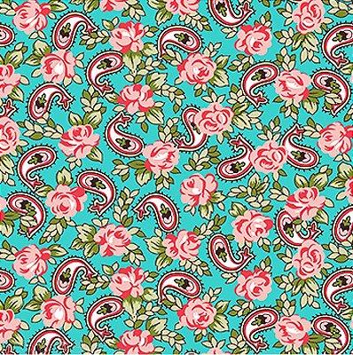 Tecido Tricoline Cashmere - Fundo Tiffany - Coleção C'este Le Vie - 50cm x 150cm