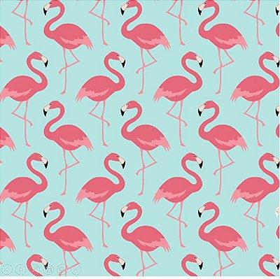 Tecido Tricoline Flamingo - Fundo Azul - Coleção Flamingo - 50cm x 150cm