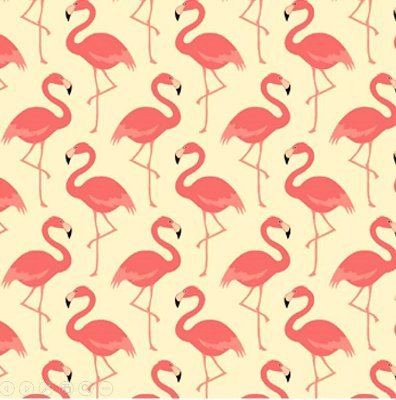 Tecido Tricoline Flamingo - Fundo Creme - Coleção Flamingo - 50cm x 150cm