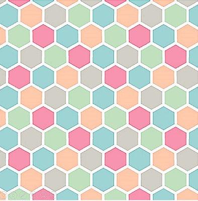 Tecido Tricoline Hexágonos Coloridos  - Coleção Hexágonos - 50cm x 150cm