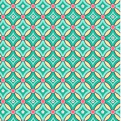 Tecido Tricoline com Estampa Geométrica Azul - Fundo Bege  - Coleção Jardim Secreto - 50cm x 150cm