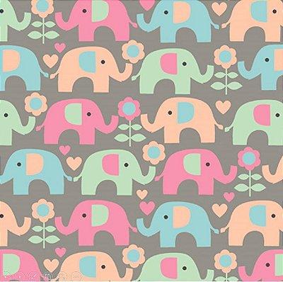 Tecido Tricoline Elefante Colorido - Fundo Cinza - Coleção Passo do Elefantinho - 50 cm x 150cm