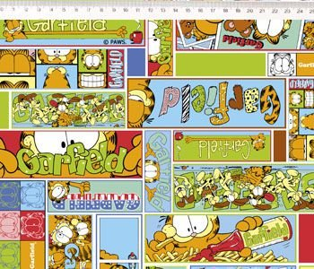 Tecido Tricoline Garfield Quadrinhos - Preço de 50 cm x 150 cm