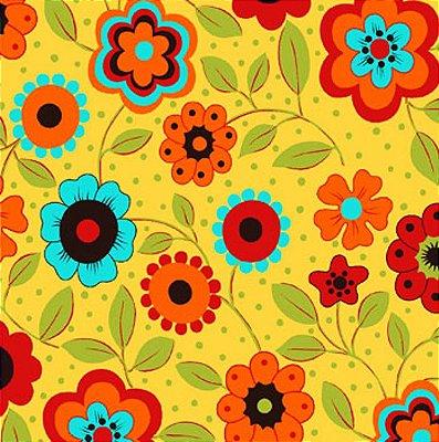 Tecido Tricoline Estampa Floral c/ Poá (Fundo Amarelo) - Coleção Alegria - 50 cm X 150 cm