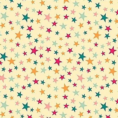 Tecido Tricoline Estampa Estrelinhas Coloridas - Fundo Creme - Coleção Contos de Fadas - 50 cm x 150 cm