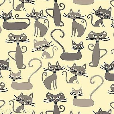 Tecido Tricoline Infantil do Gato Maroto (Fundo Creme) Coleção Gato Maroto - Preço de 50 cm X 150 cm