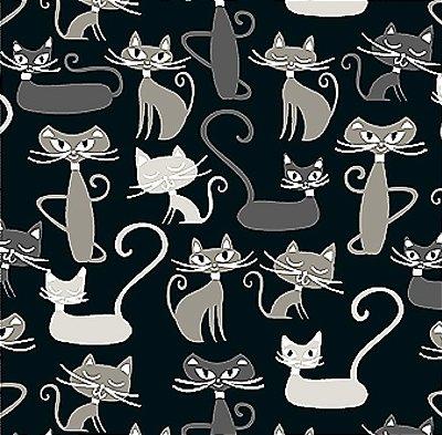 Tecido Tricoline Infantil do Gato Maroto (Fundo Preto) Coleção Gato Maroto - Preço de 50 cm X 150 cm