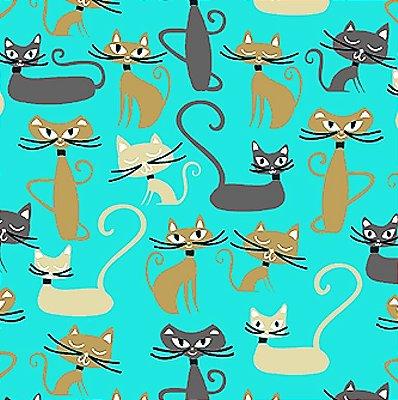 Tecido Tricoline Infantil do Gato Maroto (Fundo Tiffany) Coleção Gato Maroto - 50 cm X 150 cm