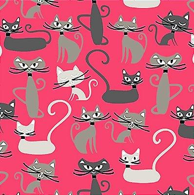 Tecido Tricoline Infantil Gato Maroto (Fundo Goiaba) Coleção Gato Maroto - Preço de 50 cm X 150 cm
