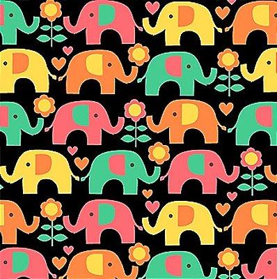Tecido Tricoline Elefante Colorido - Fundo Preto - Coleção Passo do Elefantinho - 50 cm x 150cm