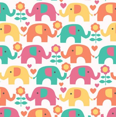 Tecido Tricoline Elefante Colorido - Fundo Creme - Coleção Passo do Elefantinho - 45cm x 150cm