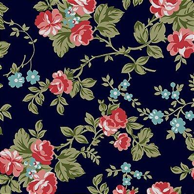 Tecido Tricoline Estampado Floral Fundo Marinho - Coleção C'est la Vie - Preço de 50cm x 150cm