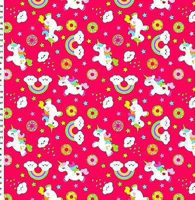 Tecido Digital - Unicórnio Pink - Preço de 50cm x 150cm