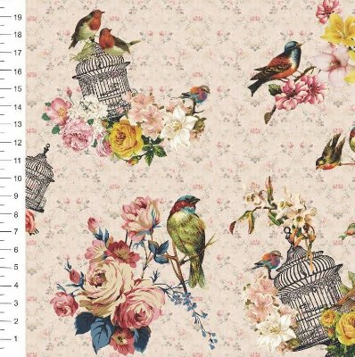 Tecido Digital Estampa de Passarinhos, Flores e Gaiola - 50 cm x 150 cm