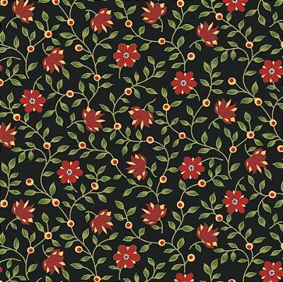 Tecido Tricoline Floral (Fundo Preto) - Coleção Antique - 50cm x 150cm