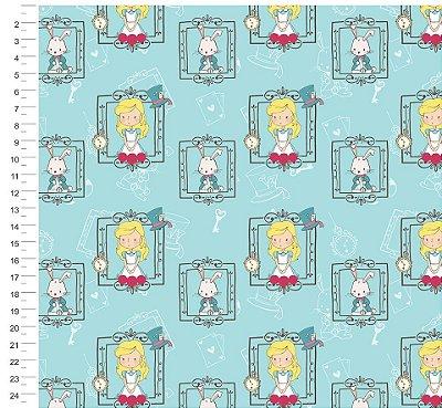 Tecido Digital - Alice no País das Maravilhas Janela - Fundo Tiffany - Preço de 50cm x 150cm