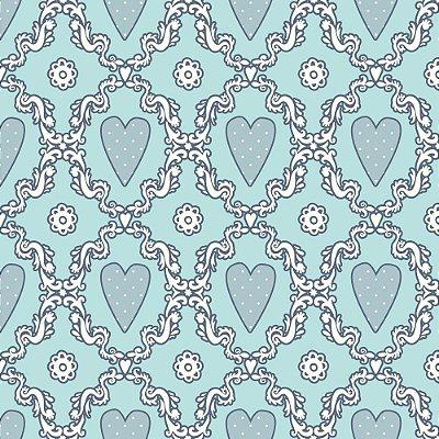 Tecido Tricoline Estampado Coração Azul (Fundo Azul)- Coleção Delicatesse - 50cm x 150cm