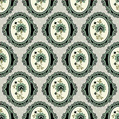 Tecido Tricoline Estampado Camafeu Verde (Fundo Cinza)- Coleção Delicatesse - 50cm x 150cm
